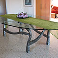 modern iron and glass table